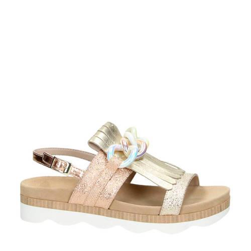 Tosca Blu metallic leren sandalen met parelmour