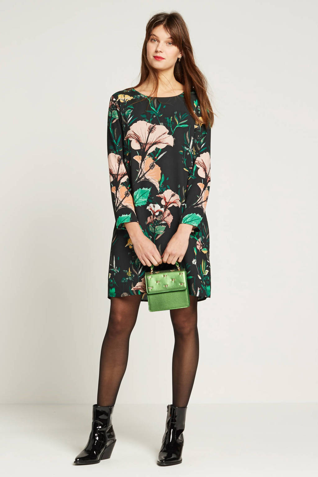 ONLY jurk met rugdecolleté, Donkergroen