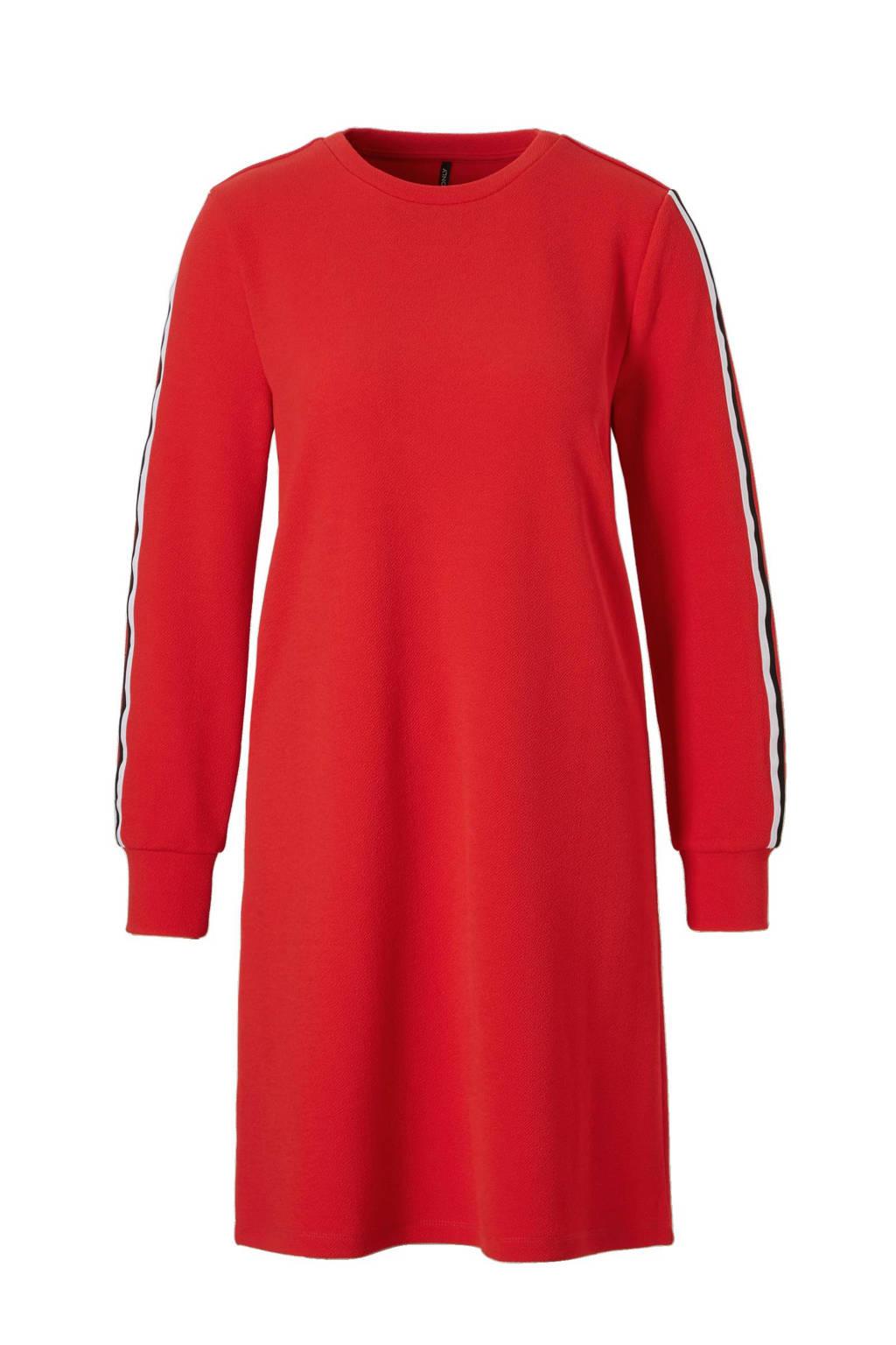 ONLY jurk met zijstreep, Rood/zwart/wit
