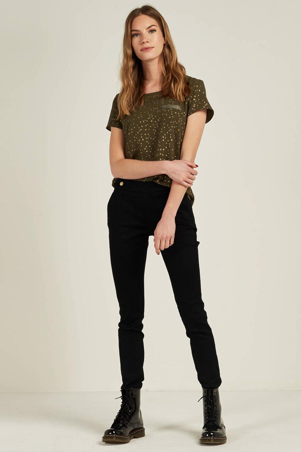 JACQUELINE DE YONG broek met sierknopen, Donkerblauw