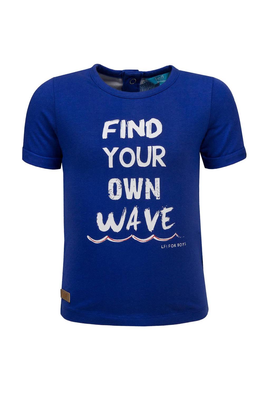 lief! T-shirt met tekst, Blauw/wit
