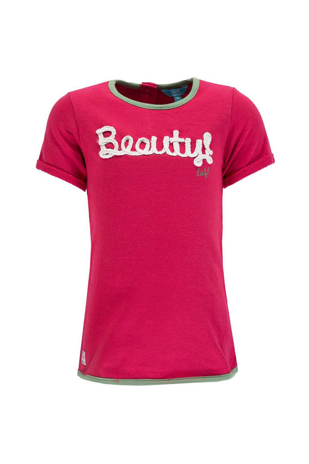 lief! sweatjurk met tekst roze, Roze/wit/groen