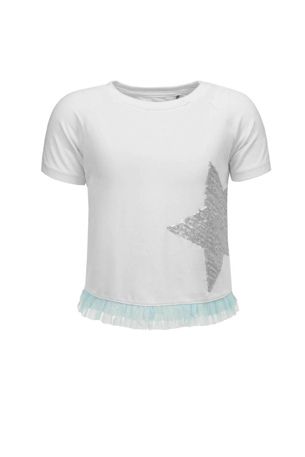 bellybutton T-shirt met pailletten en tule, Wit/zilver/mintgroen