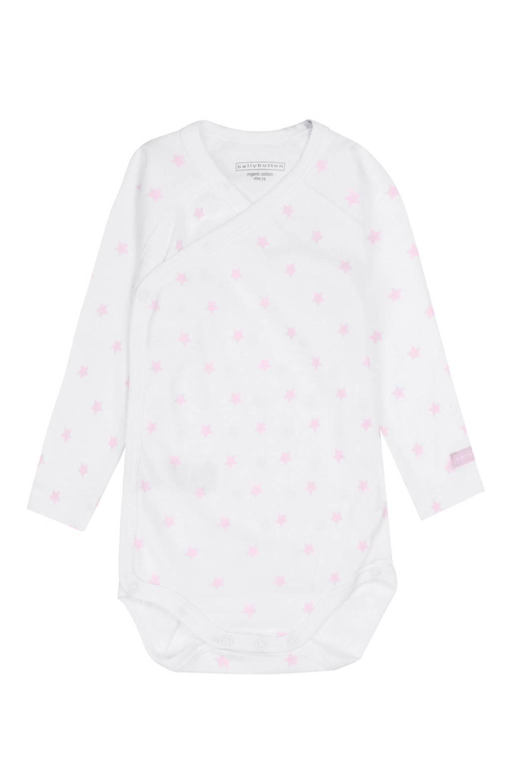 bellybutton romper, Wit/roze