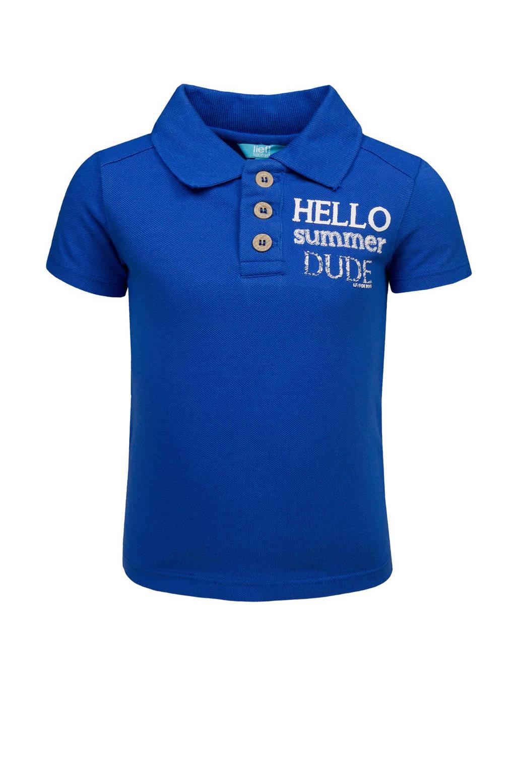 lief! polo met tekst blauw, Kobaltblauw
