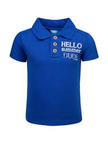 polo met tekst blauw