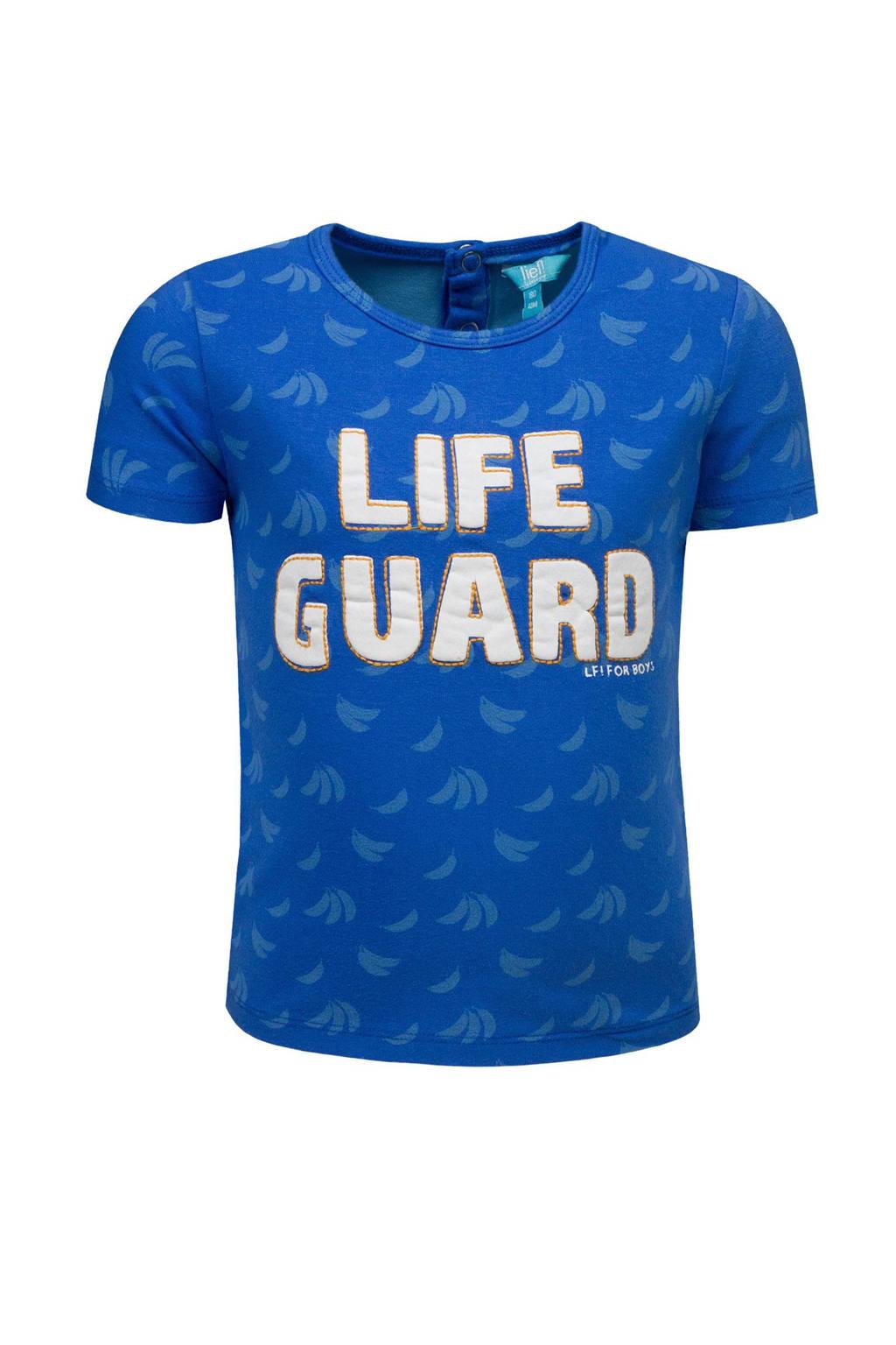 lief! T-shirt met tekst blauw, Blauw/wit
