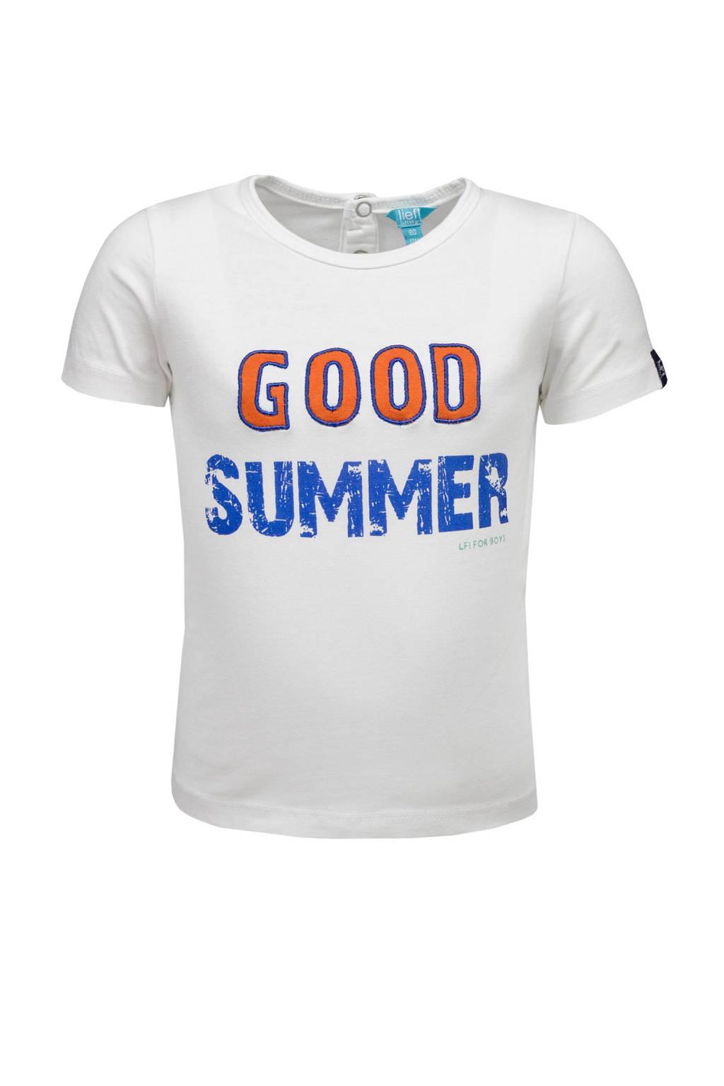 lief! T-shirt met tekst wit, Wit/oranje/blauw