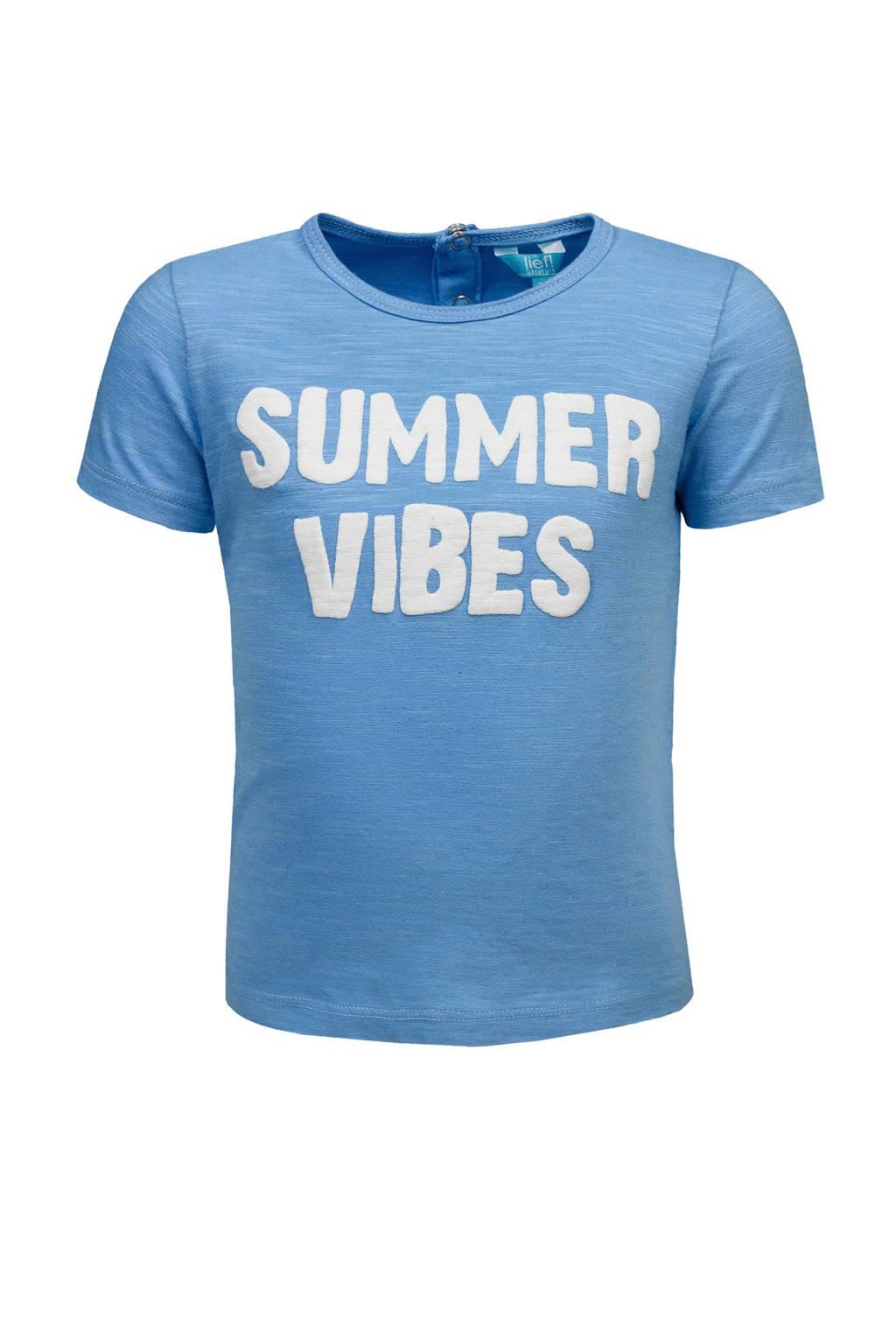 lief! T-shirt met tekst lichtblauw, Lichtblauw melange