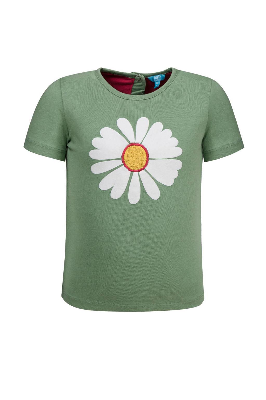 lief! T-shirt met bloem, Groen/wit/geel