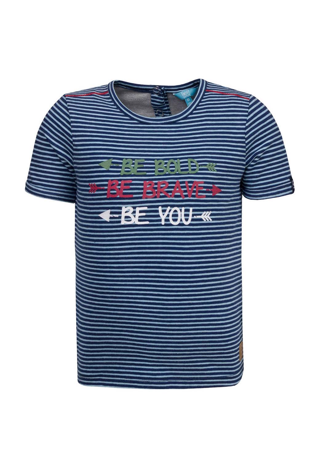 lief! gestreept T-shirt met tekst, Donkerblauw/wit