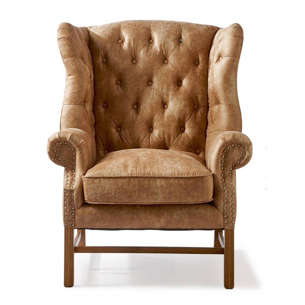 Riviera Maison fauteuil Franklin Park, Camel, Pellini leer, Rubberhout