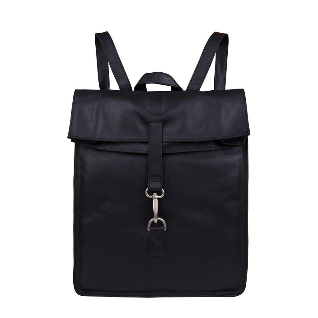 Cowboysbag  15 inch leren rugzak Doral zwart, Zwart