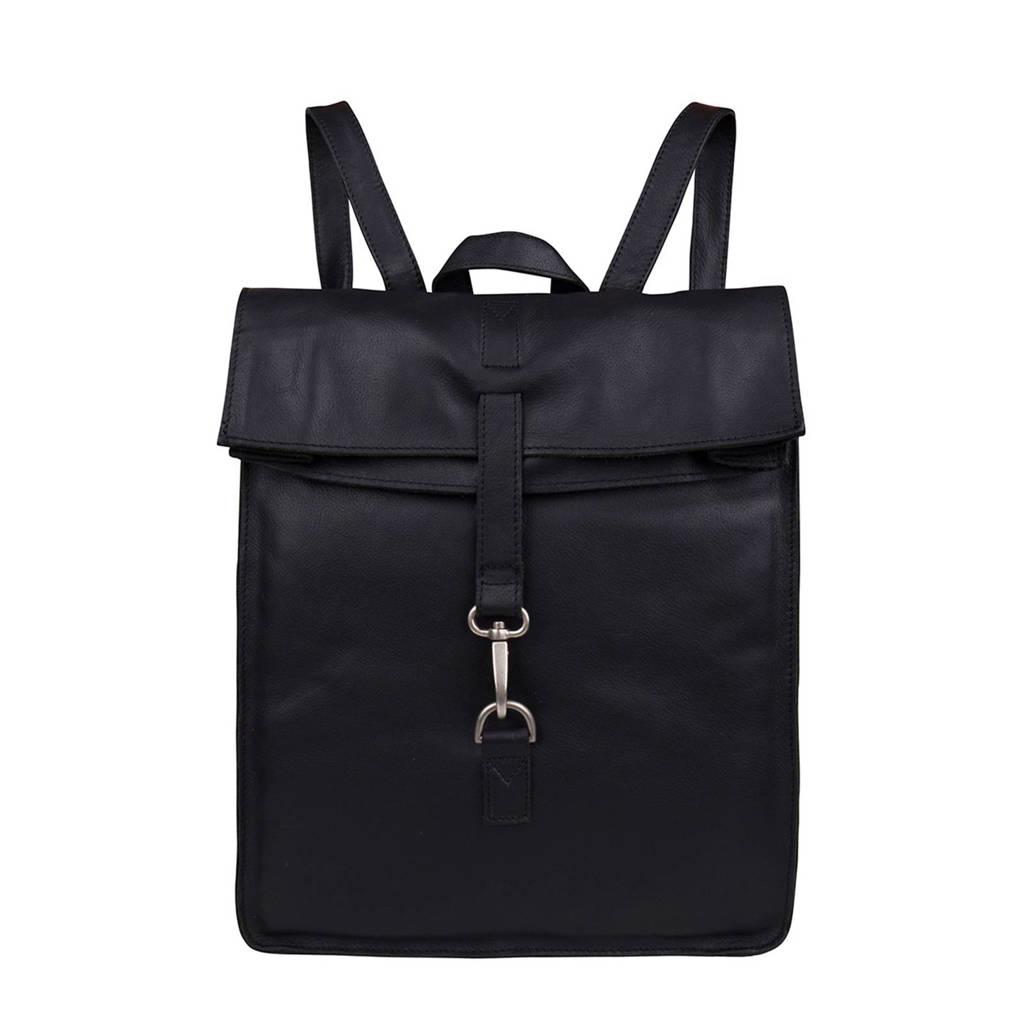 Cowboysbag  15.6 inch Doral leren laptoptas rugzak, 100 BLACK