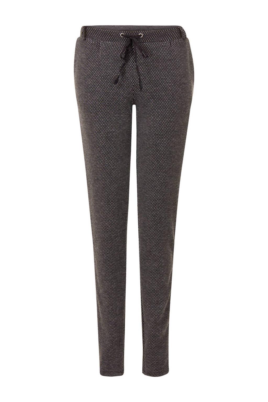 Miss Etam Regulier straight fit tweed broek, Zwart/grijs
