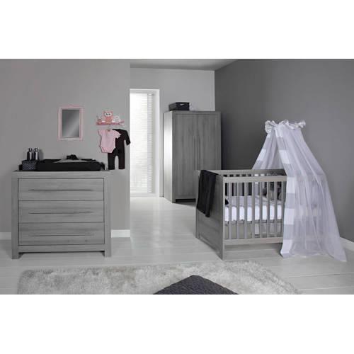 Vittoria babykamer (ledikant + commode + linnenkast) grijs