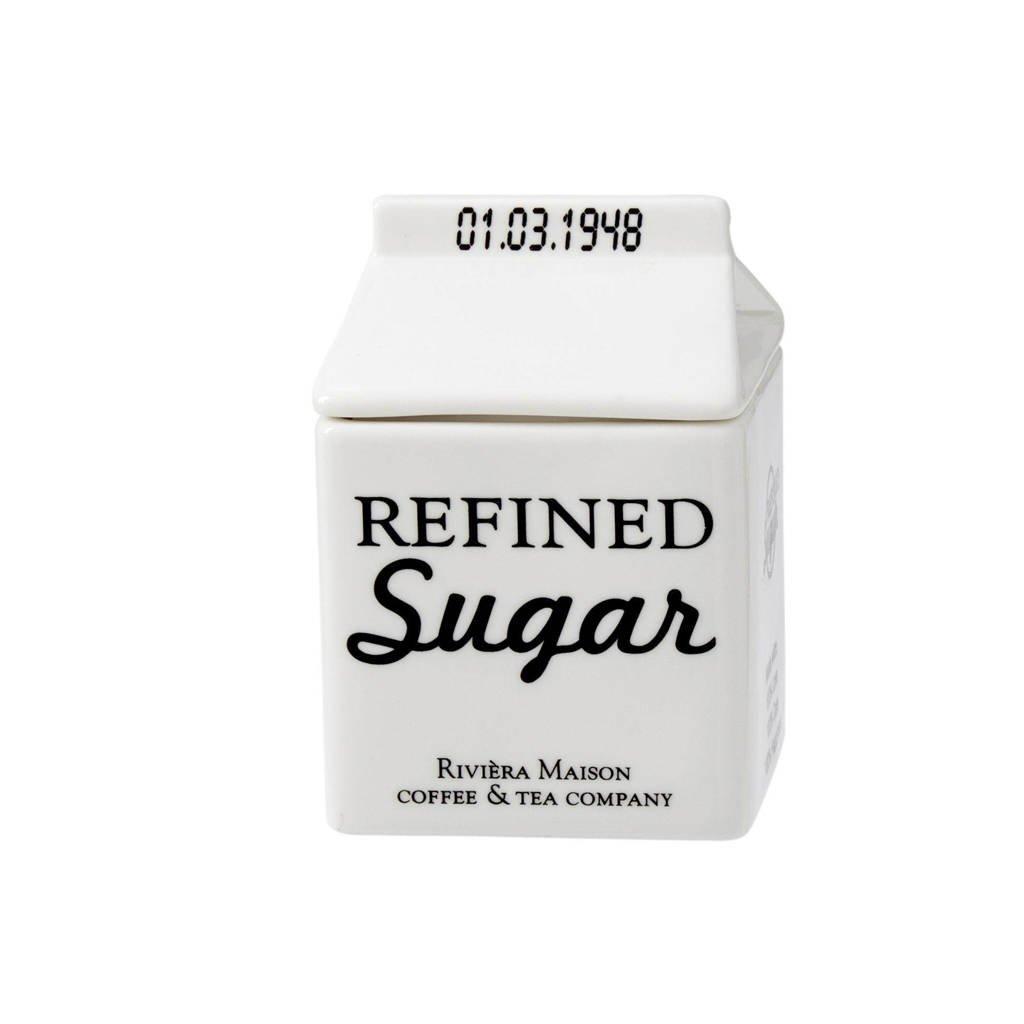 Riviera Maison suikerpot, Wit/zwarte opdruk