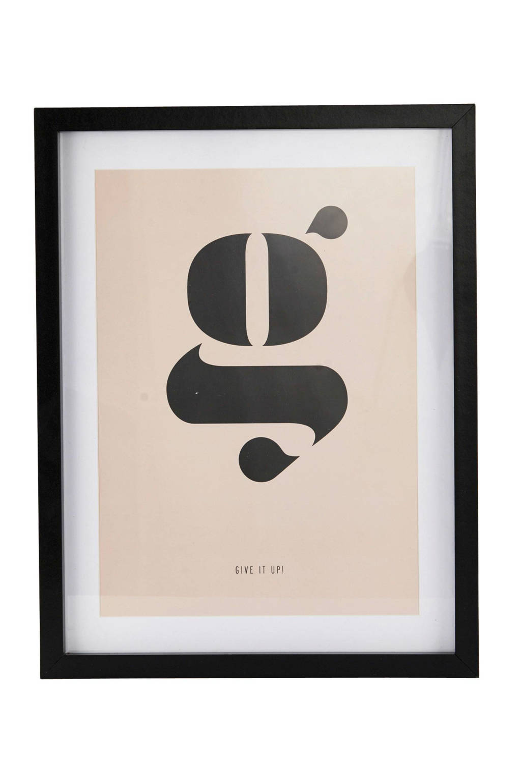 House Doctor wanddecoratie (25x20 cm), Wit/lichtgroen/zwart