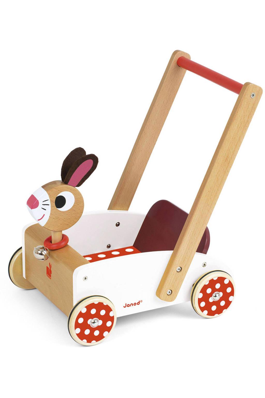 Janod houten crazy konijn loopwagen, Wit