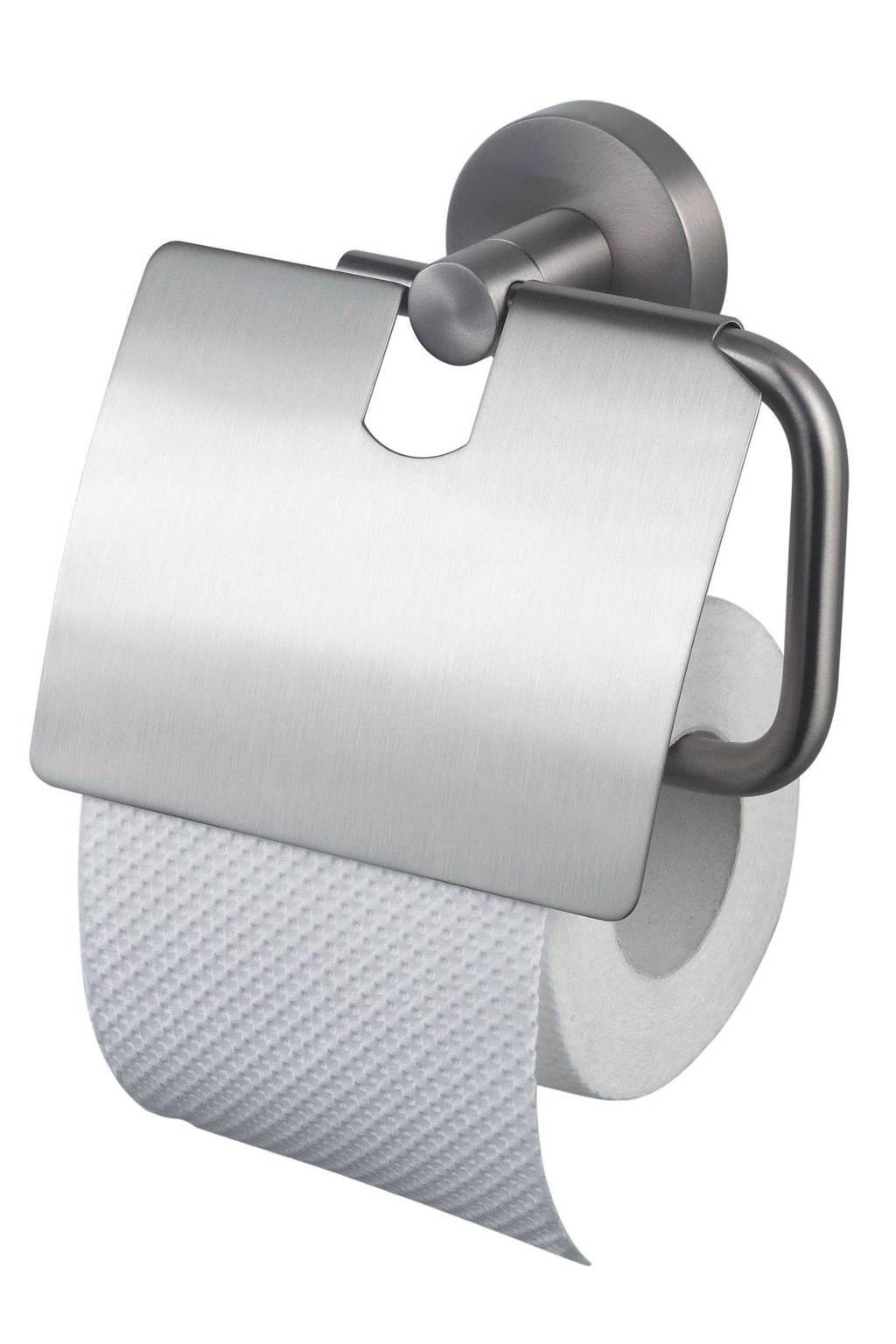 Haceka Kosmos TEC toiletrolhouder met klep, Roestvrijstaal