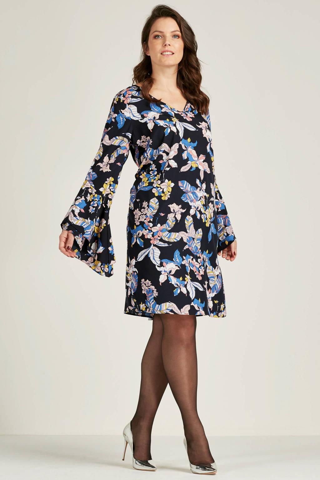 JUNAROSE jurk met bloemenprint, Donkerblauw/lichtblauw/roze/ecru/geel