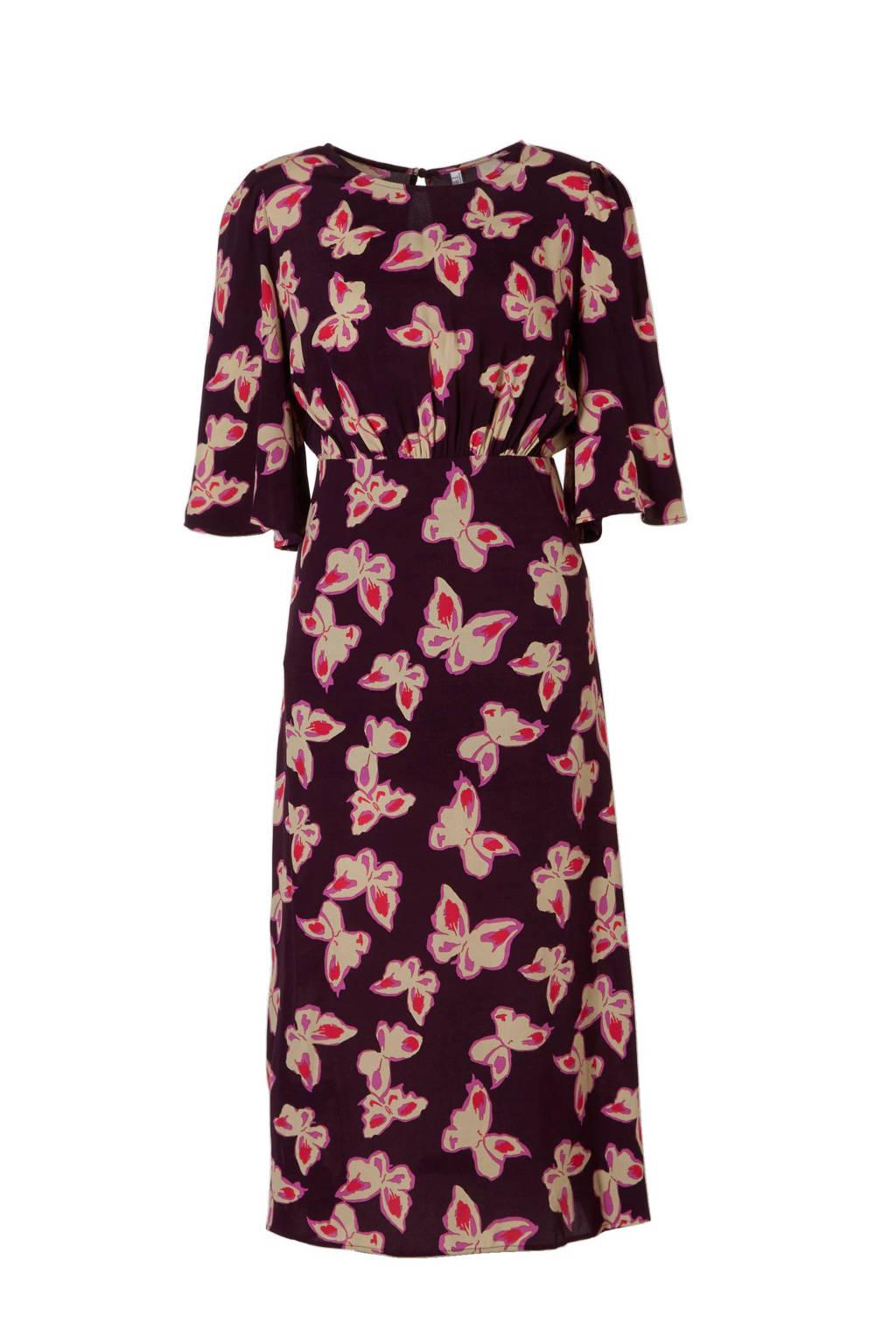 Mango jurk met vlinderprint, Paars/roze