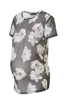 positie mesh T-shirt met bloemenprint