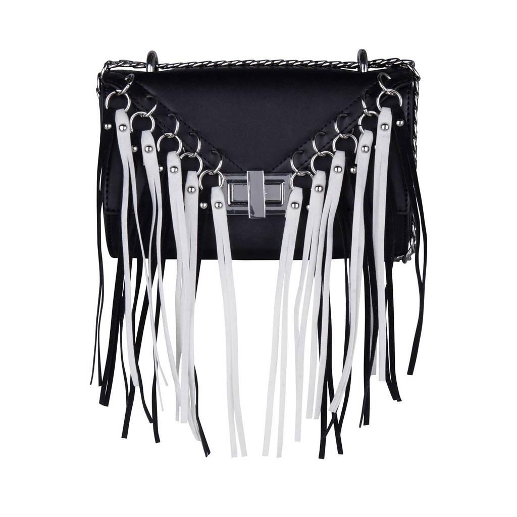 Supertrash  Zoe Color Tassels Mini schoudertas, Zwart/wit