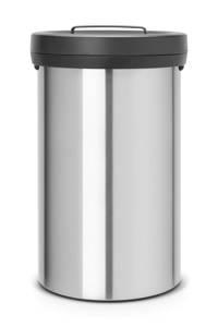 Brabantia Big Bin 60 liter prullenbak, Mat staal/zwart