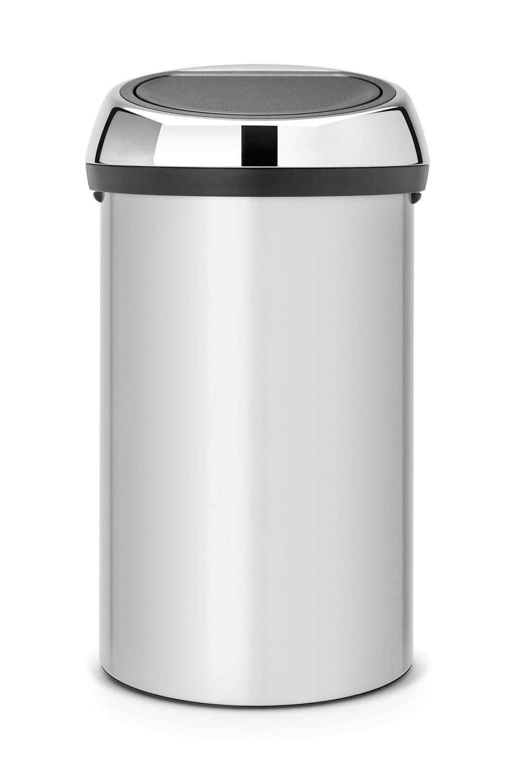Brabantia Touch Bin 60 liter prullenbak, Metallic Grijs