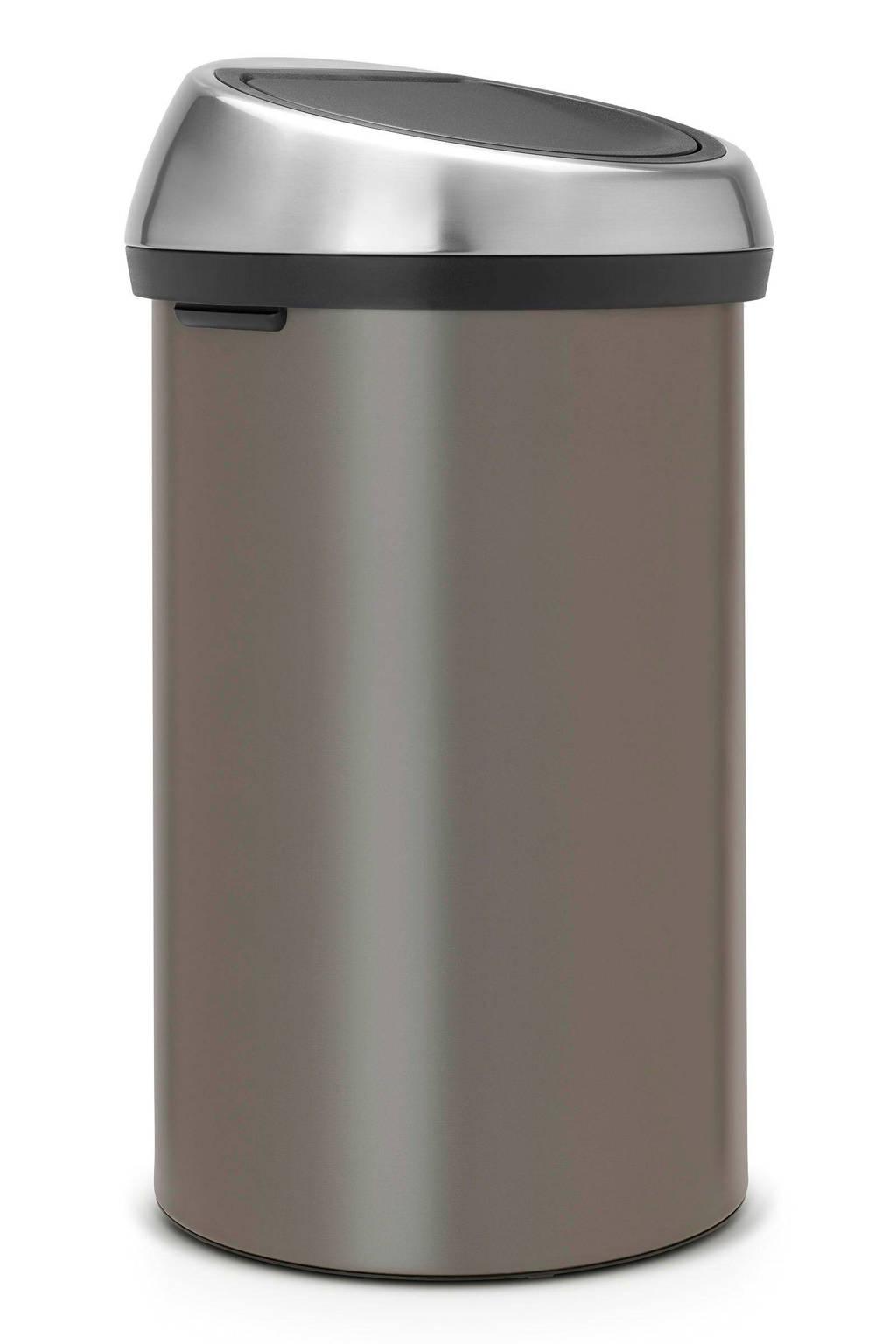 Brabantia Afvalemmer Touch Bin Flat Top.Brabantia Touch Bin 60 Liter Prullenbak Wehkamp