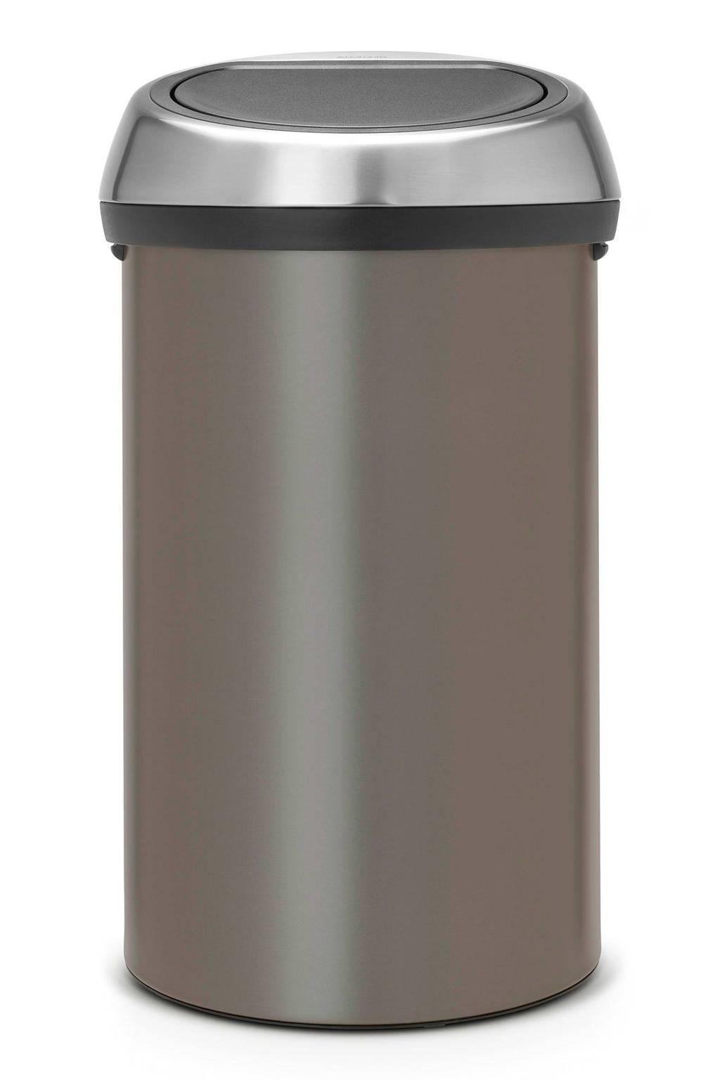 Brabantia Touch Bin 60 liter prullenbak, Platinum