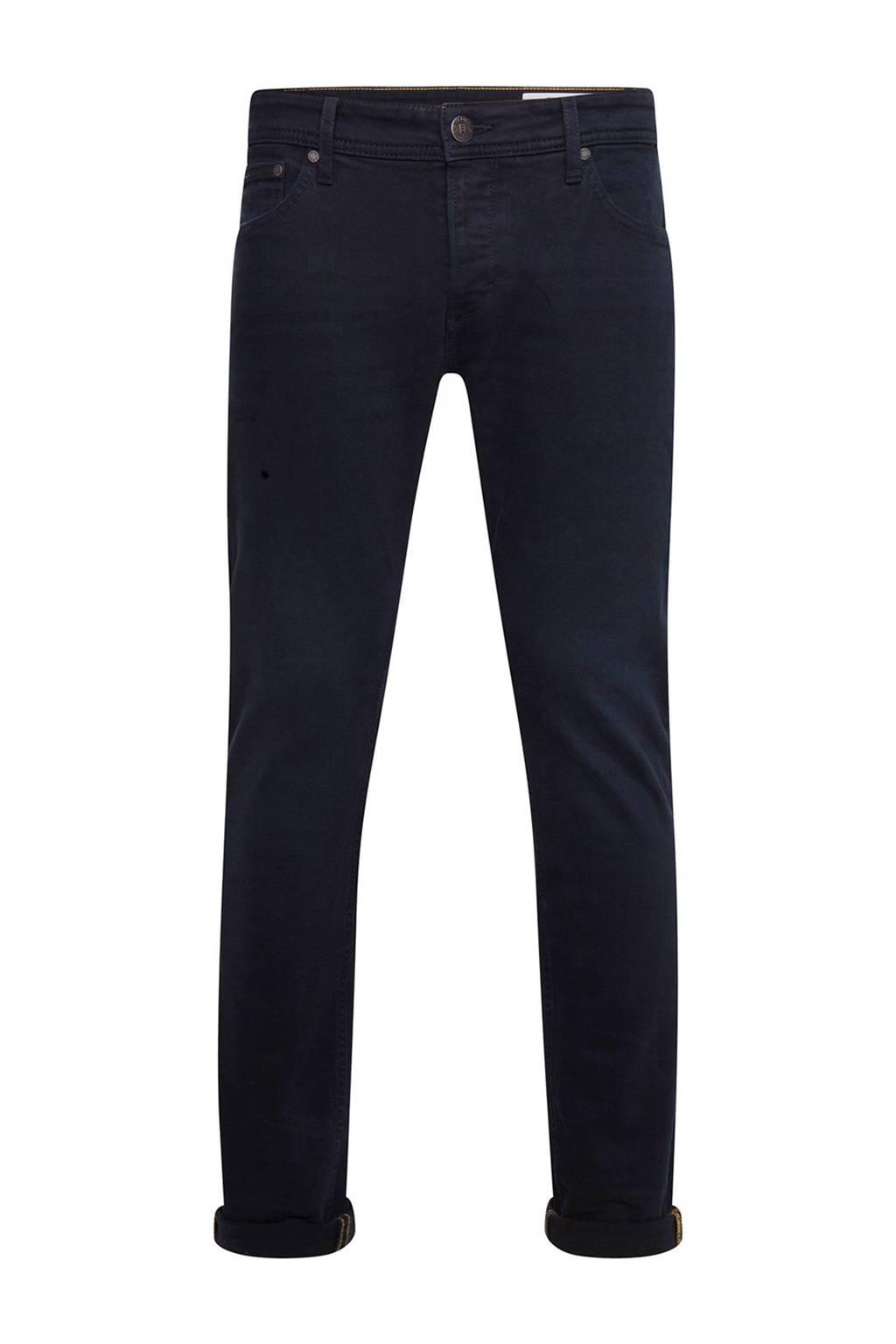WE Fashion Blue Ridge slim fit broek, Donkerblauw