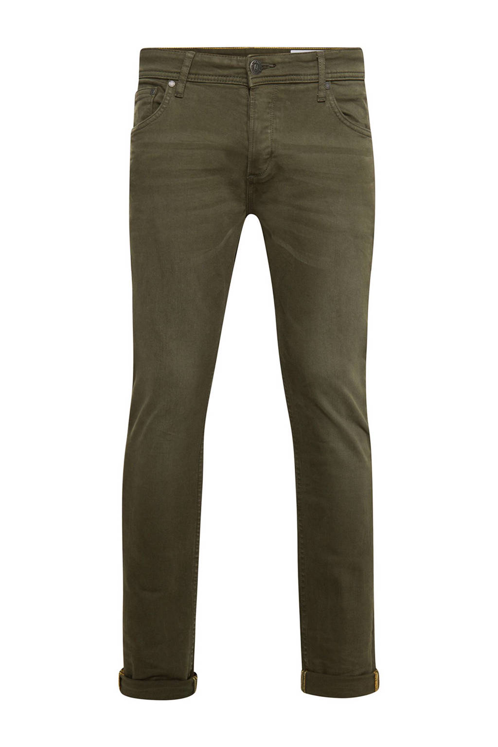 WE Fashion Blue Ridge slim fit broek, Donkergroen