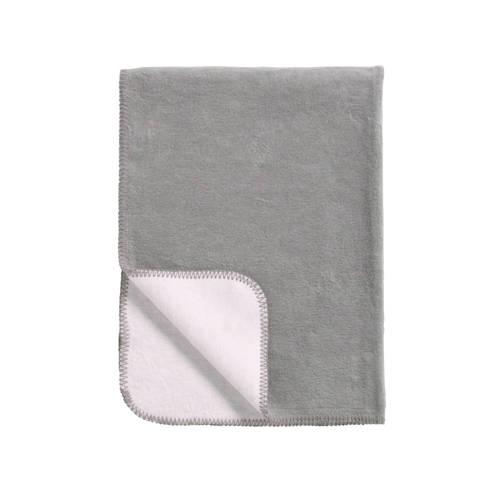 Meyco Katoenen deken double face grijs-wit 75x100 cm