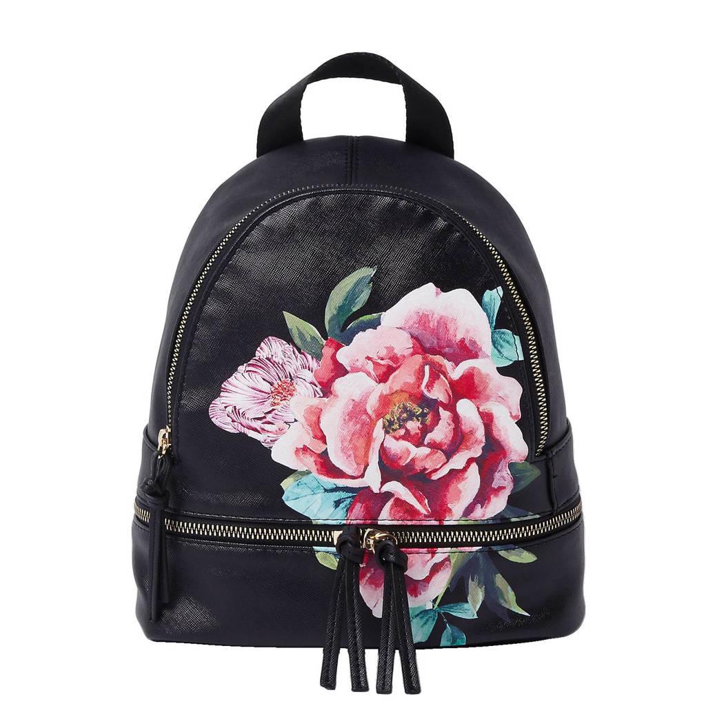 81187892f38 River Island imitatieleren rugzak met bloemenprint, Zwart/roze