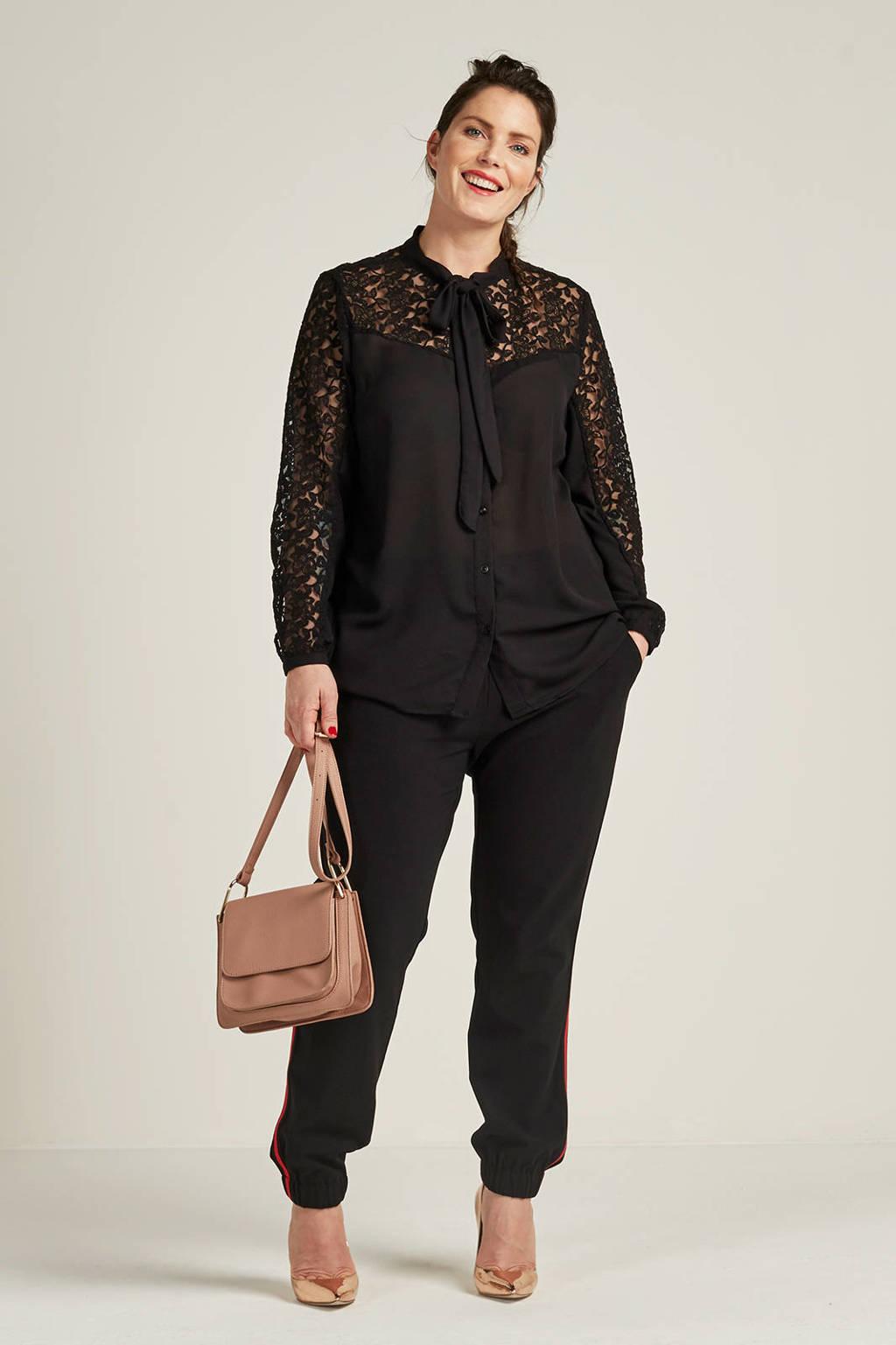 whkmp's great looks blouse met kant, Zwart