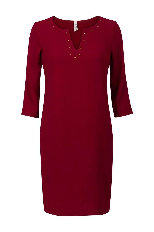 Miss Etam Regulier jurk met studs, Donkerrood