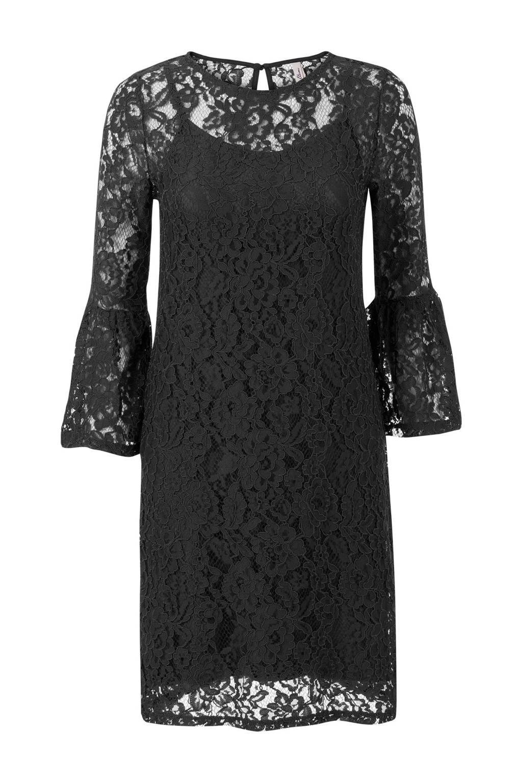 Miss Etam Regulier kanten jurk, Zwart