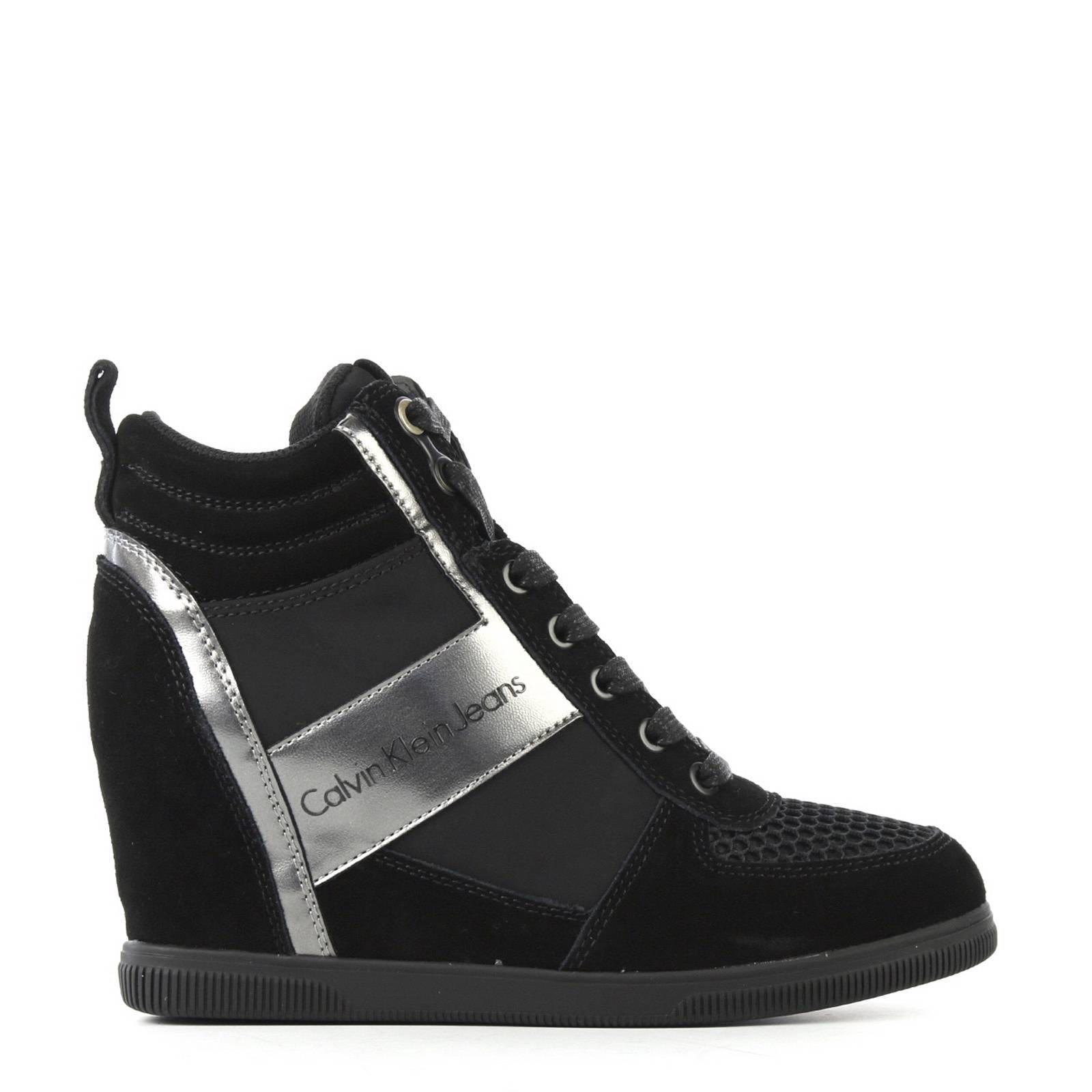 95ddf4589579db Calvin Klein Jeans suède sneakers met sleehak | wehkamp