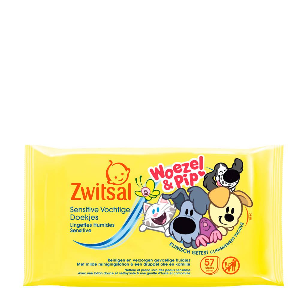 Zwitsal Woezel & Pip Sensitive vochtige doekjes - 57 stuks - baby, 56 stuks / 1 pakje
