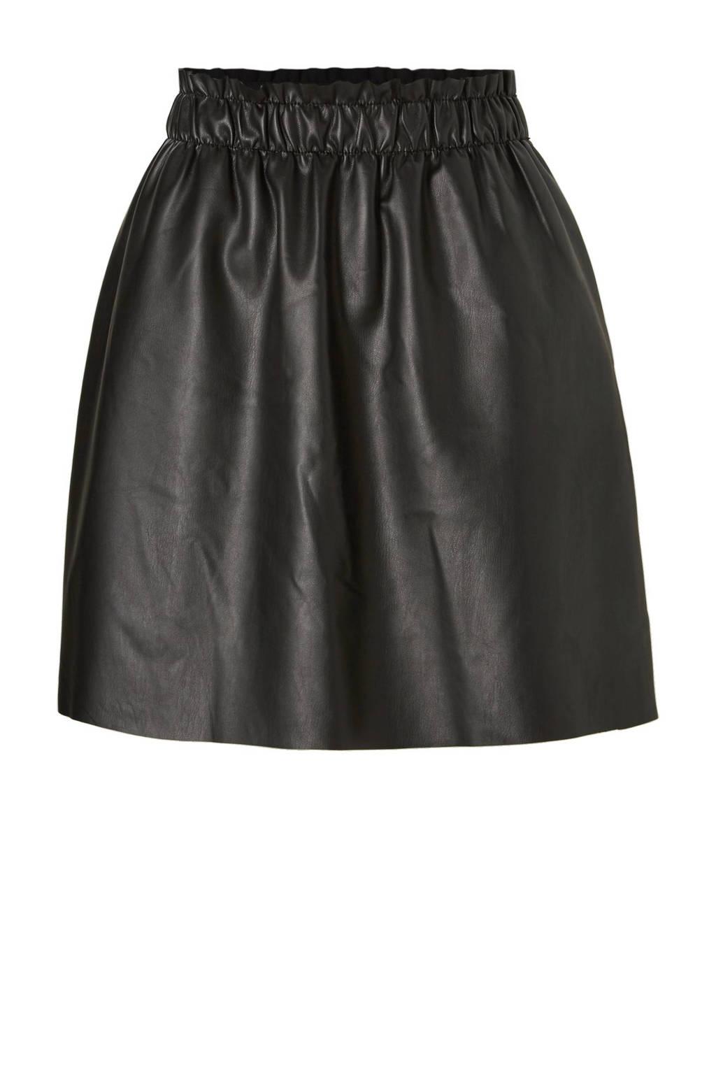VILA imitatieleren rok, Zwart
