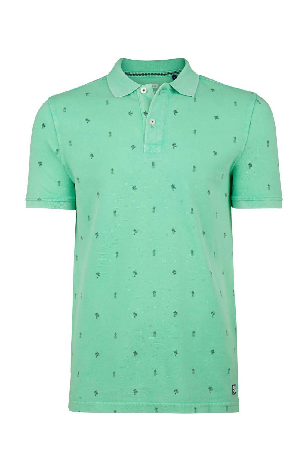 WE Fashion slim fit polo met print mintgroen, Mintgroen