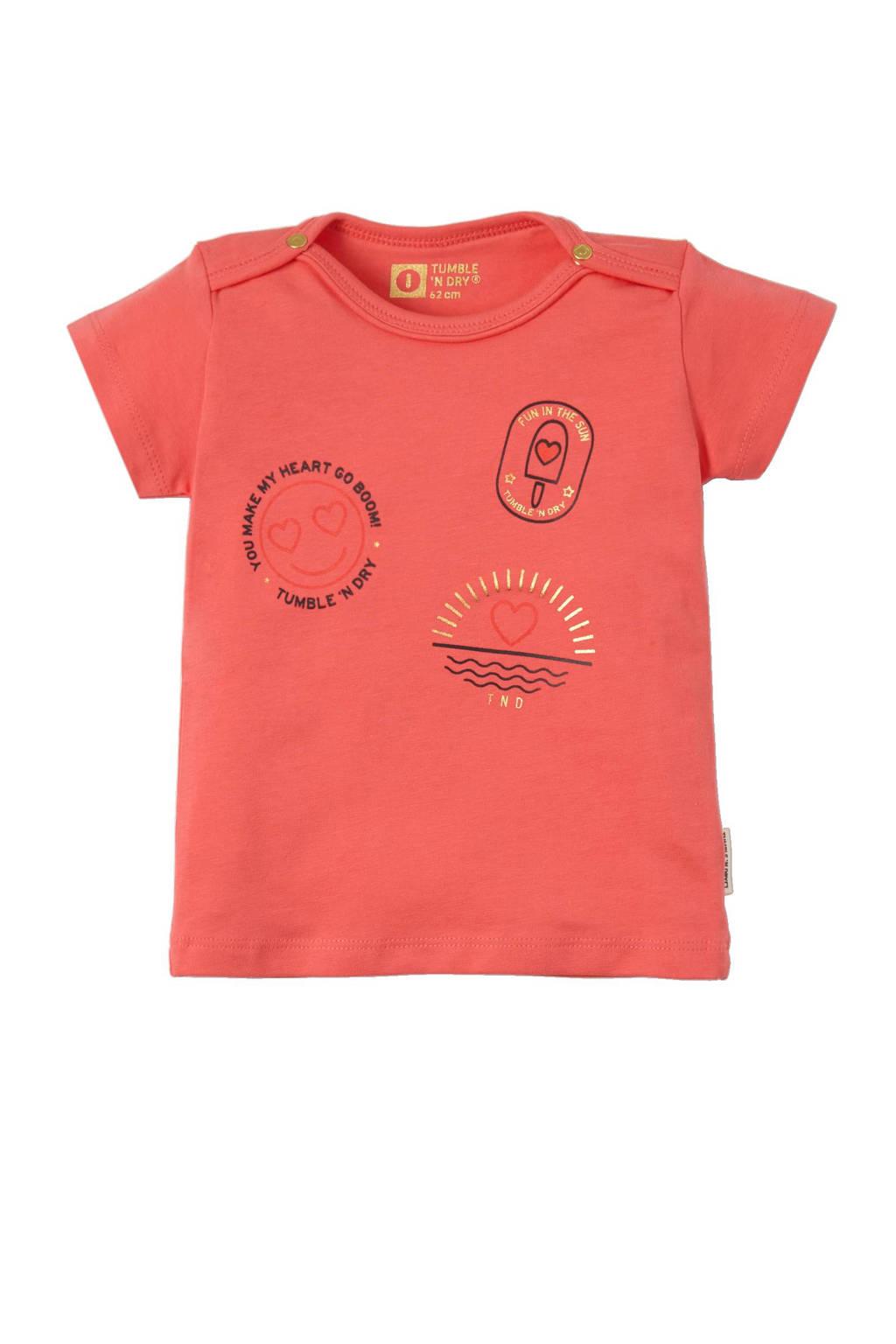 Tumble 'n Dry Zero newborn T-shirt Britta koraalrood, Koraalrood / zwart / goud