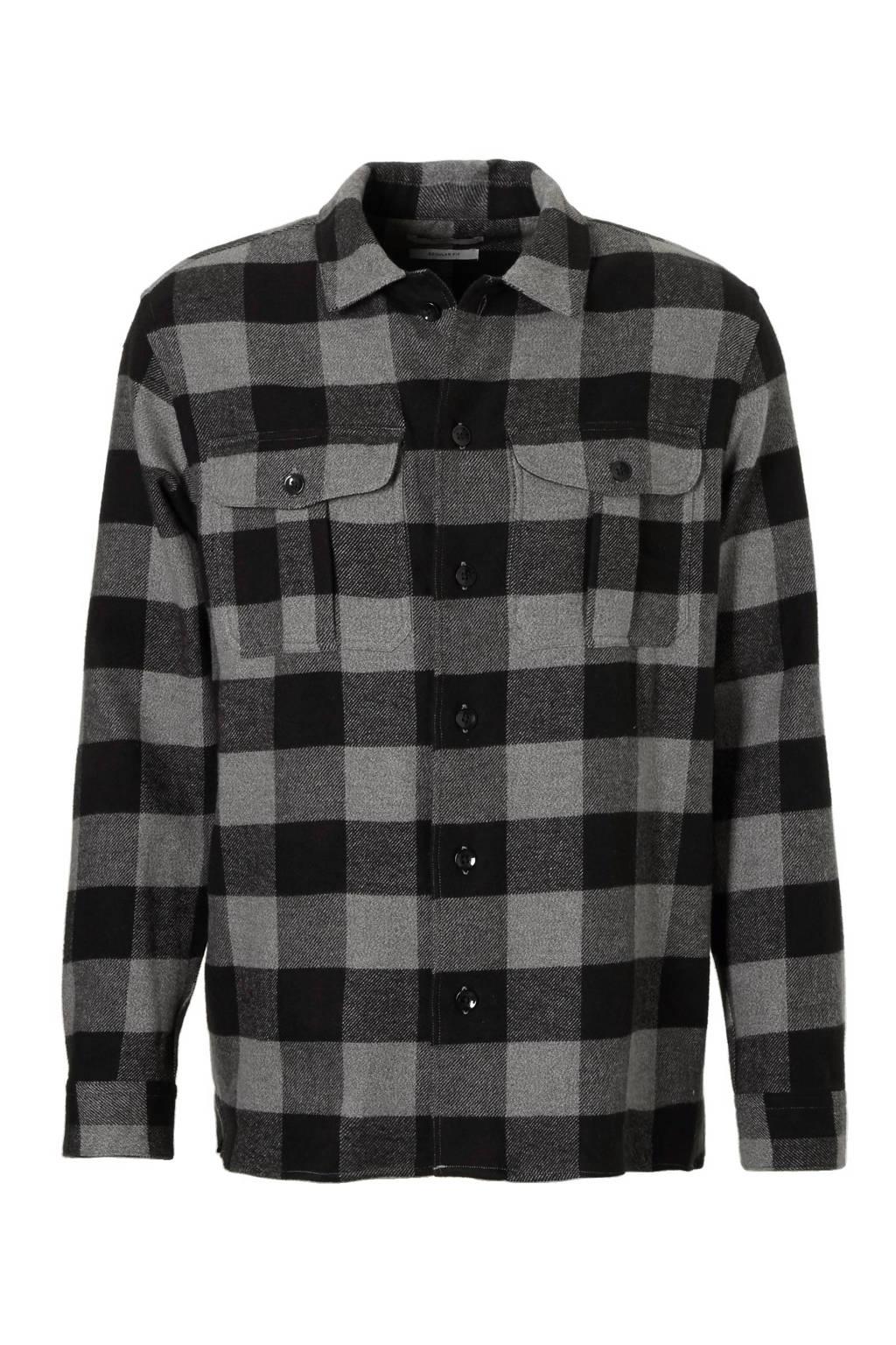 b454ddfe446 Mango Man regular fit flanellen overhemd, Zwart/grijs