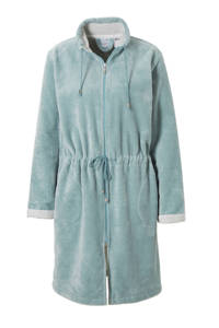 Vandyck fleece badjas met ritssluiting lichtgroen, Lichtgroen/wit