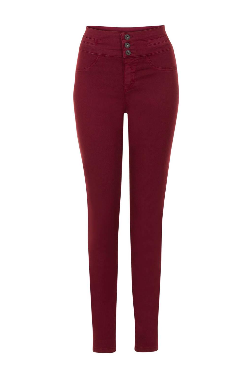 Miss Etam Regulier high waisted slim fit broek 32 inch, Donkerrood