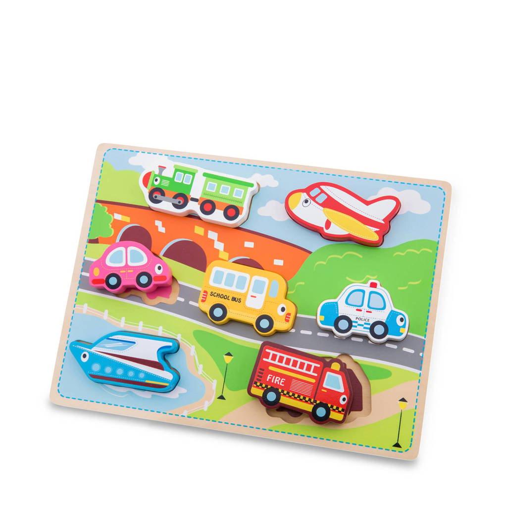 New Classic Toys Chunky transport houten houten vormenpuzzel 7 stukjes