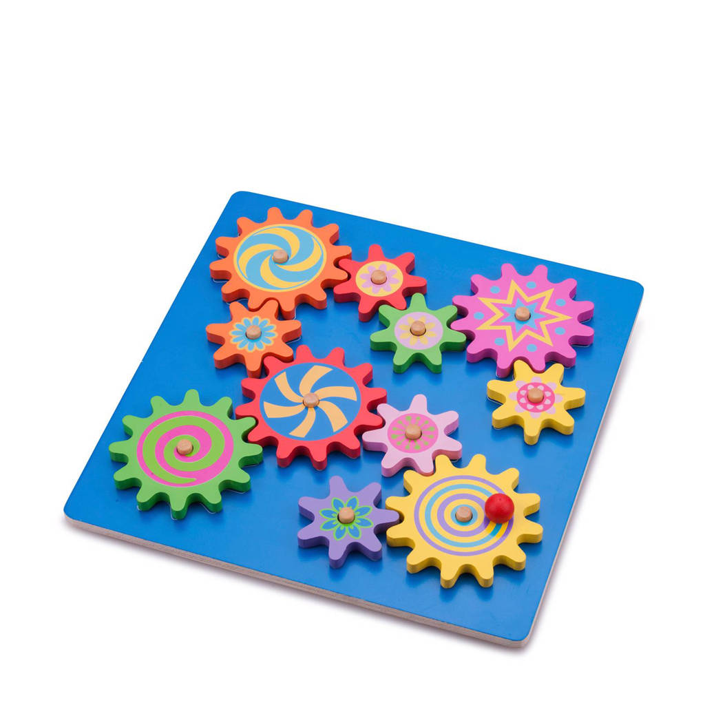 New Classic Toys tandwielen houten vormenpuzzel 10 stukjes