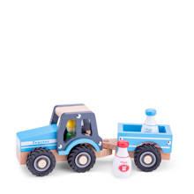 houten tractor met melkflessen